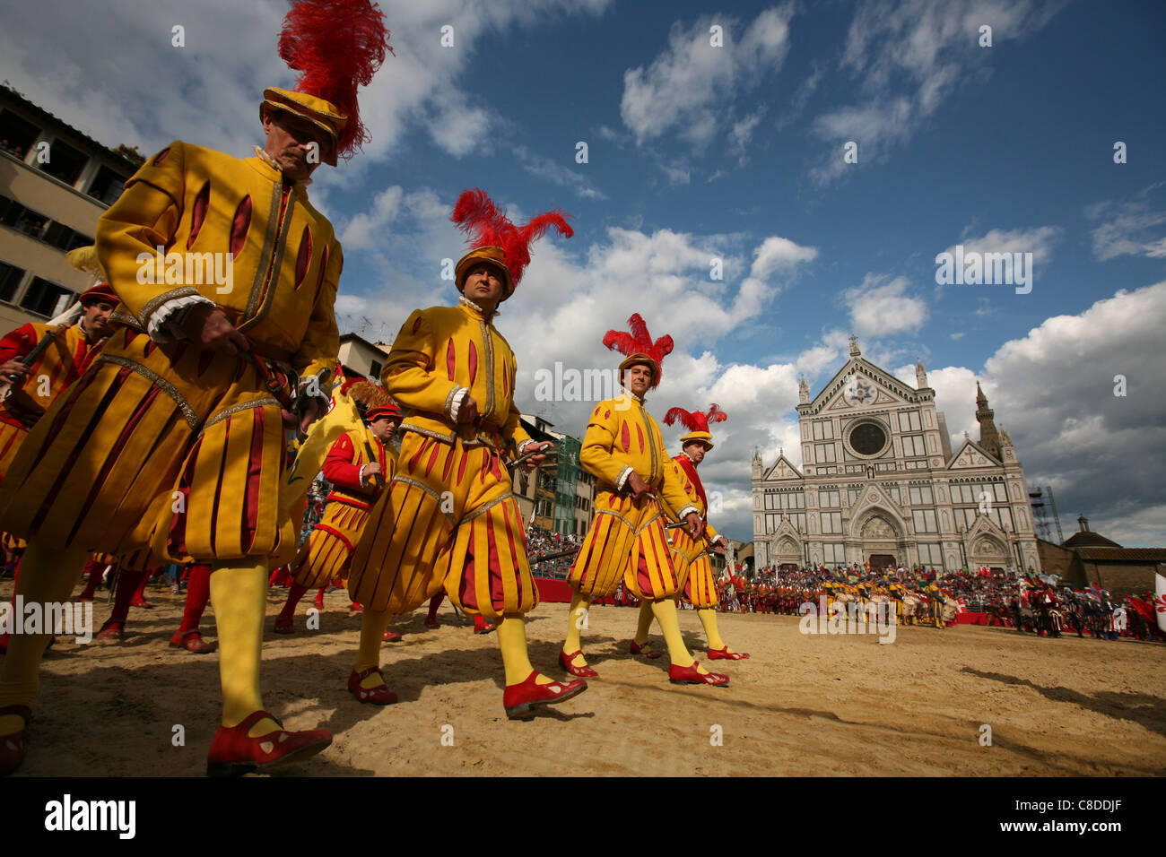 Calcio Storico. Opening ceremony of the final match in historical football at the Piazza di Santa Croce in Florence, Stock Photo
