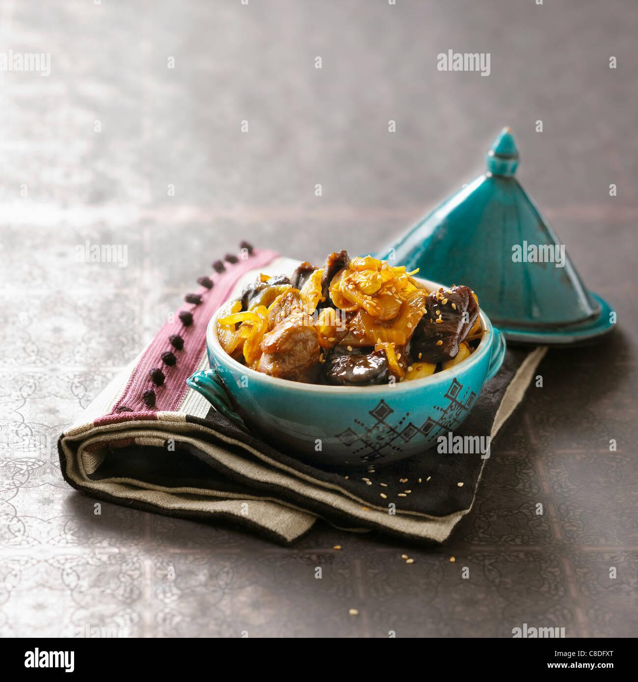 Veal and prune Tajine Stock Photo