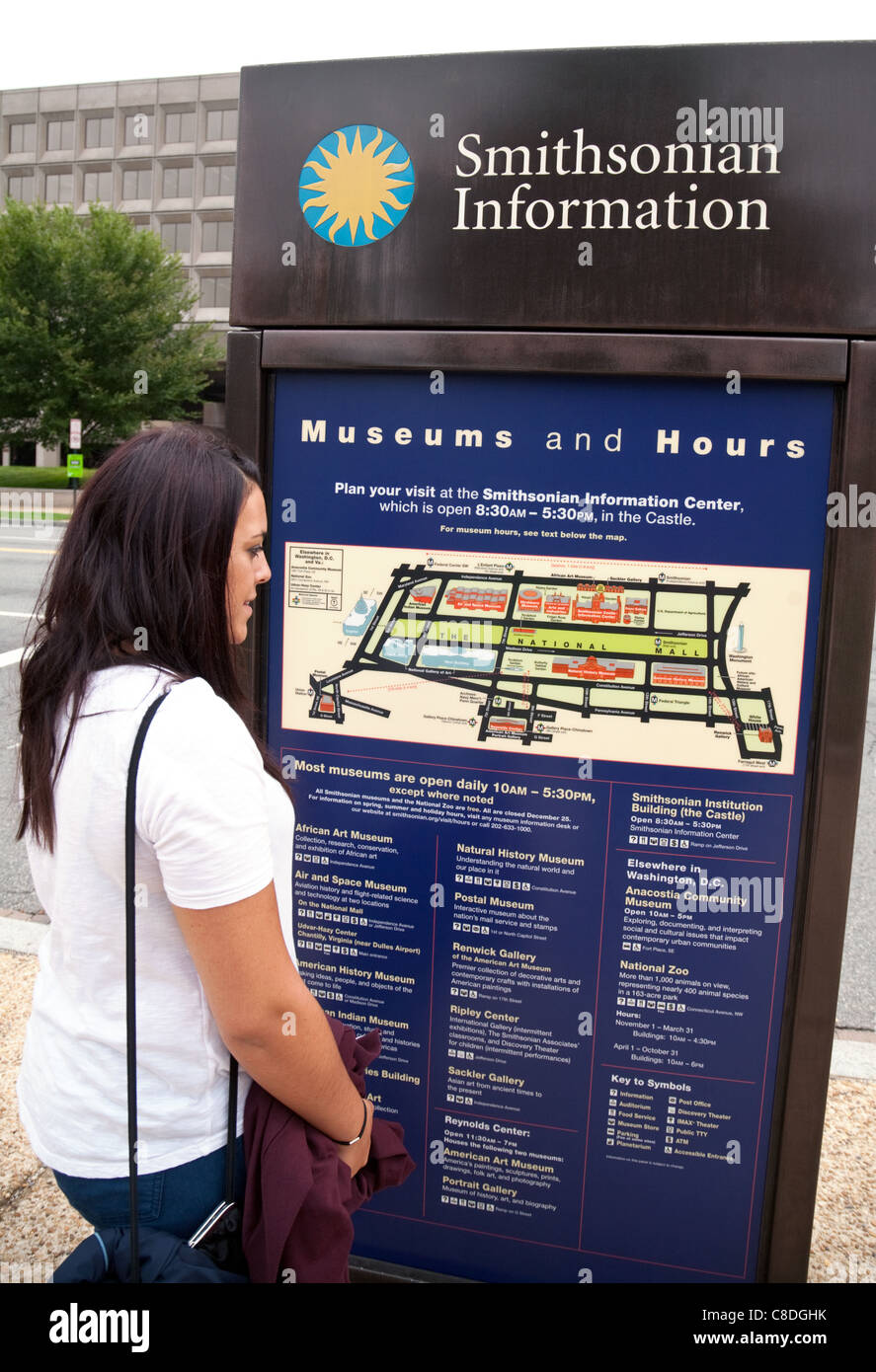 A young woman reading a tourist map of the Smithsonian institute museums, Washington DC USA Stock Photo
