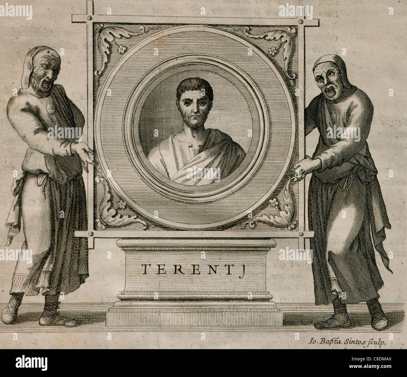 Terence (195-159 BC). Playwright during the Roman Republic. Engraving. 1736. - Stock Image