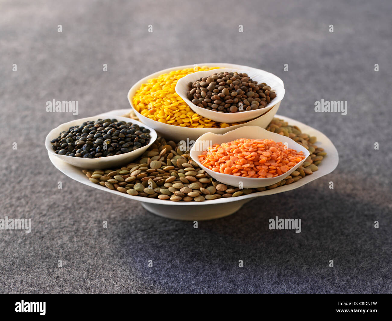 Assorted lentils - Stock Image