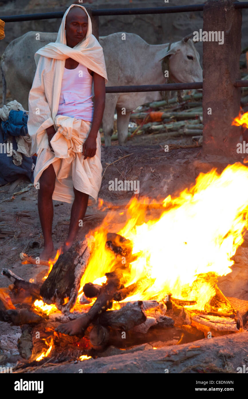 Body burning on funeral pyre at Hindu cremation at
