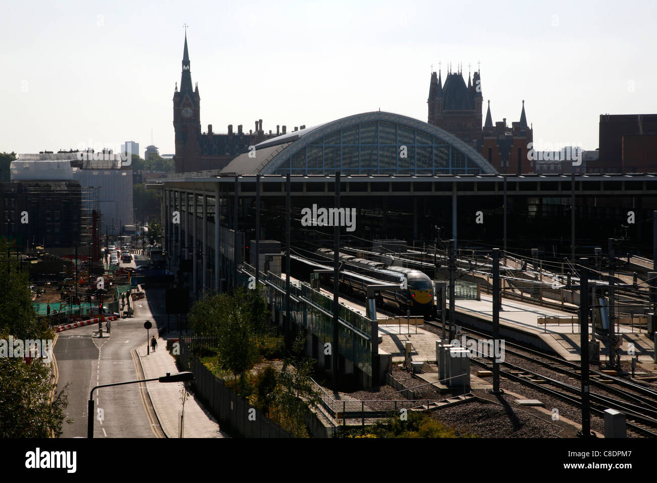 South Eastern train arriving at St Pancras Station, St Pancras, London, UK - Stock Image