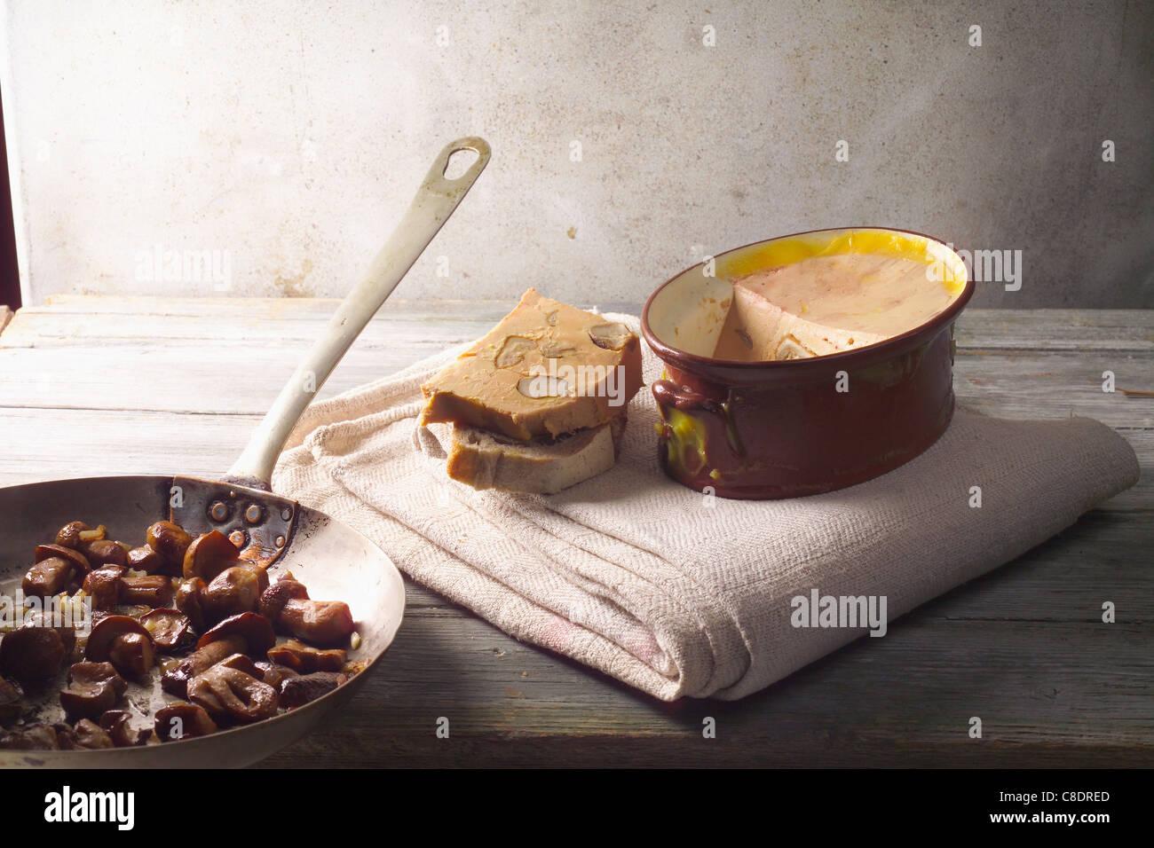 Duck Foie gras ,cep fricassée and vintage Port terrine Stock Photo