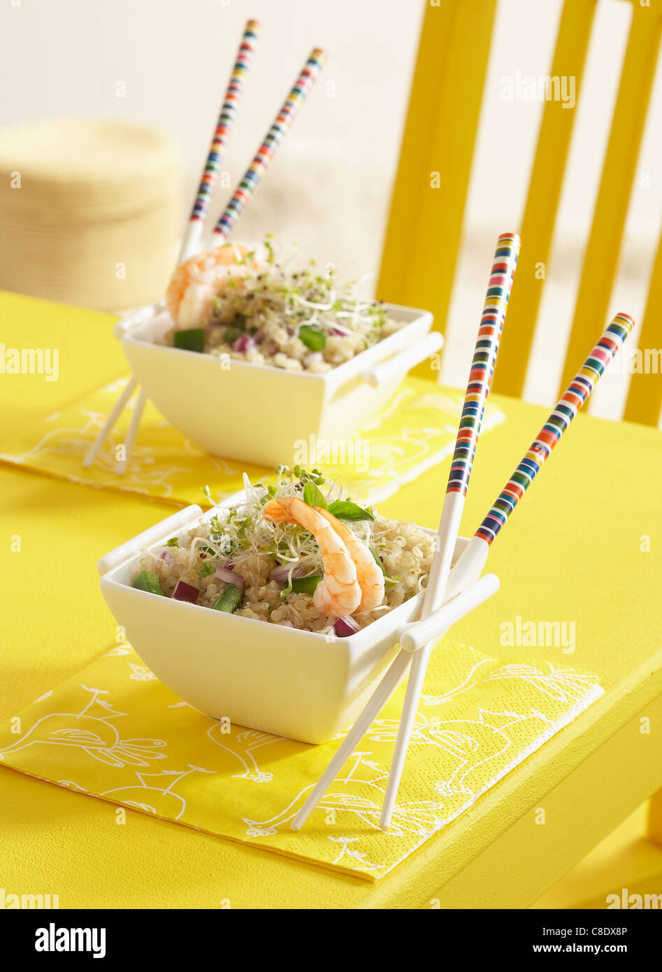 Quinoa,shrimp and young shoot salad - Stock Image