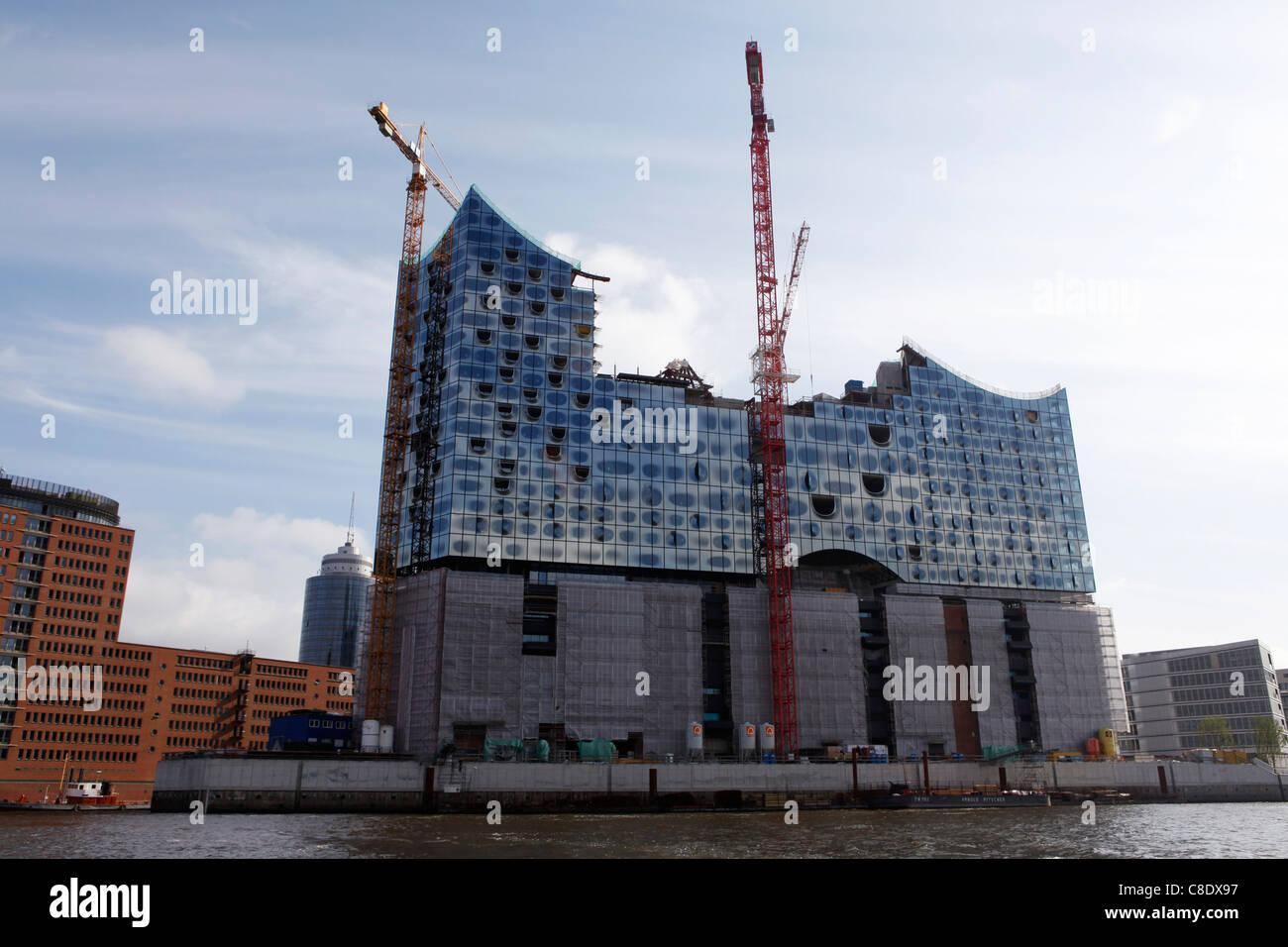 Construction of the Elbphilharmonie in the HafenCity, Hamburg, Germany. - Stock Image