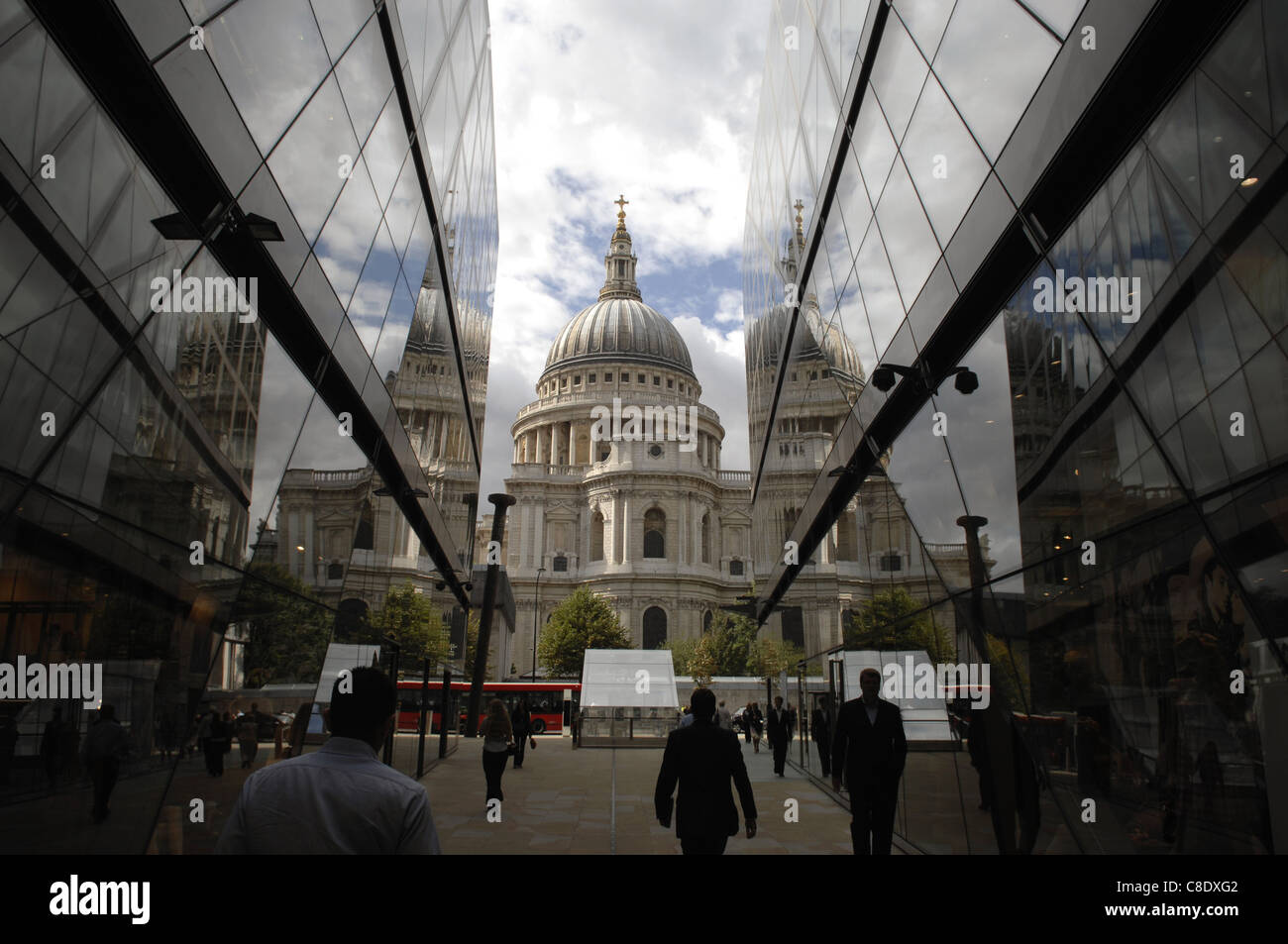 View of St. Paul's Cathedral from One New Change shopping Center. This exciting new center affords great views - Stock Image