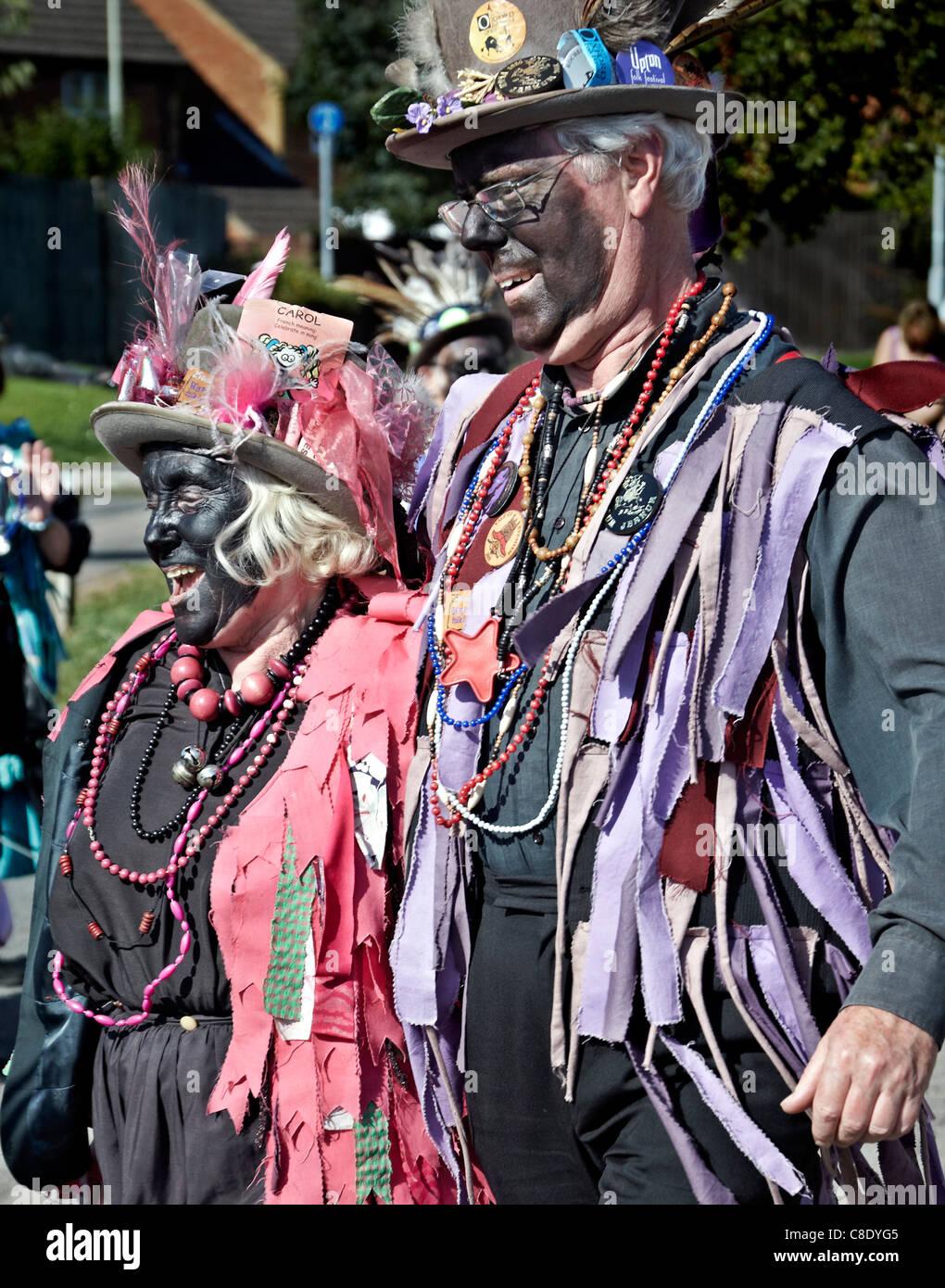 Traditional Mummers 'Black Face' folk couple. England UK - Stock Image