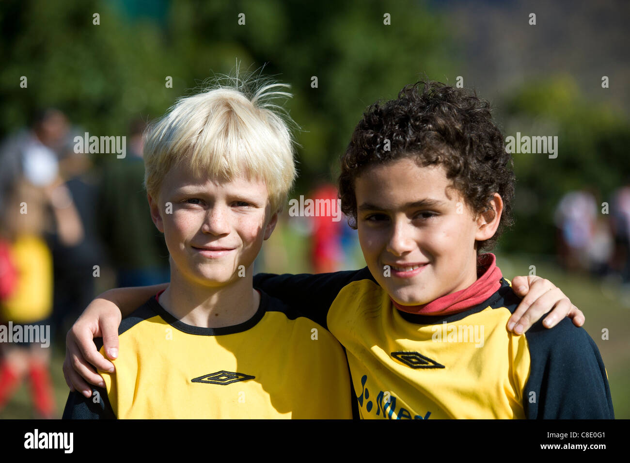 Young team mates of Rygersdal Football club Cape Town South Africa - Stock Image