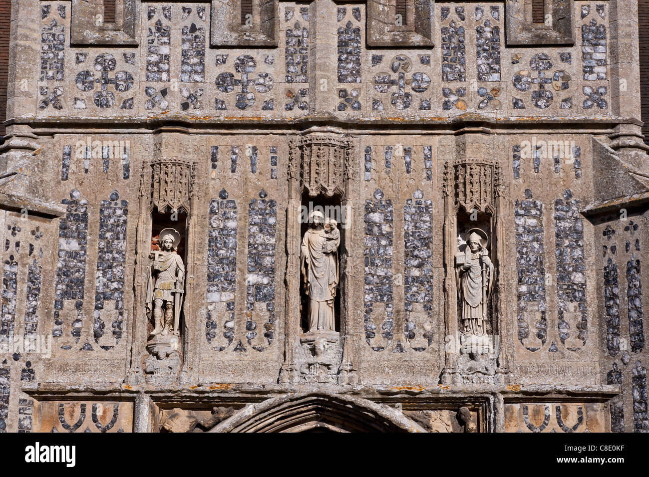 Statues of saints on an English Mediaeval church - Stock Image