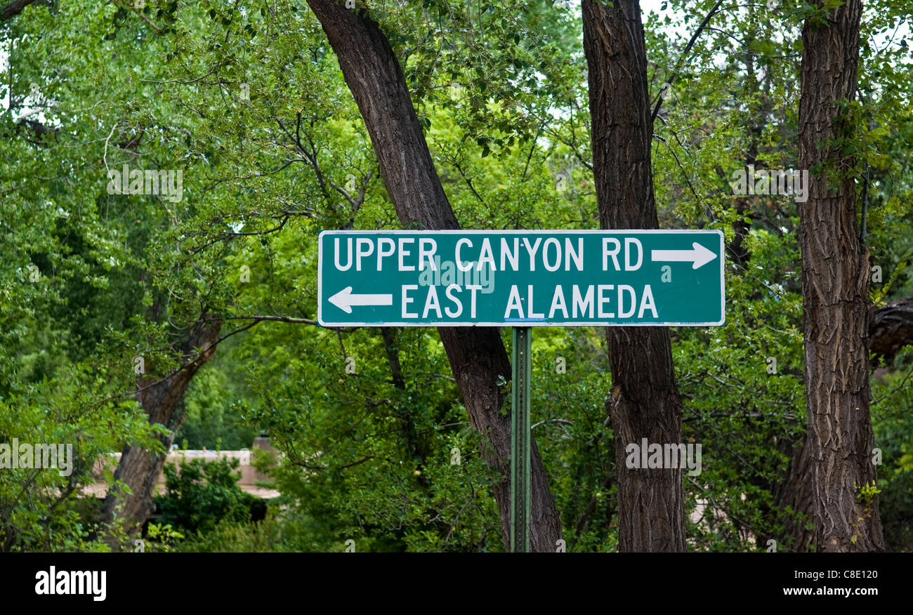 Upper Canyon Rd and East Alameda street sign in Santa Fe New Mexico - Stock Image