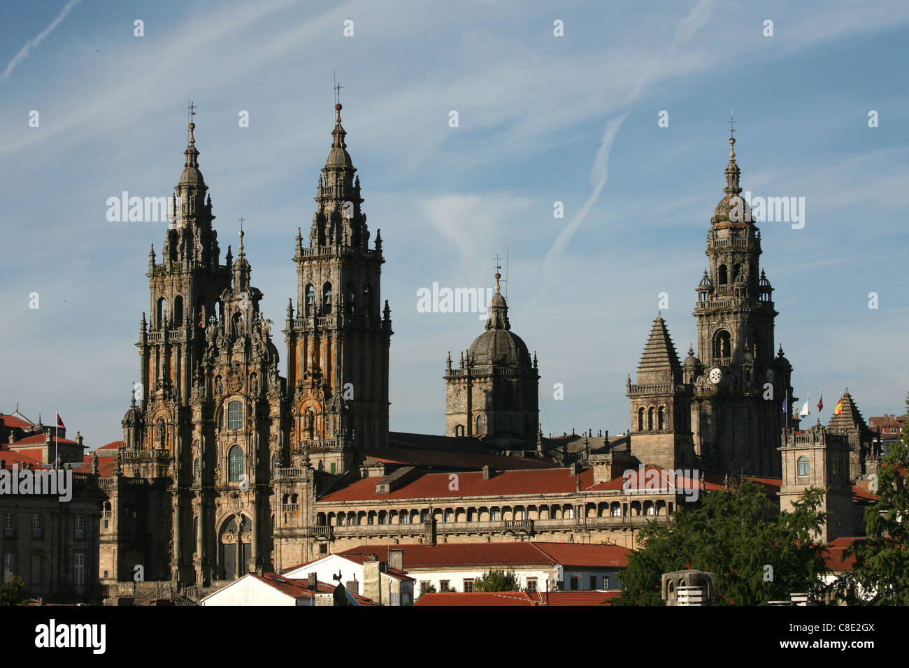 Cathedral of Santiago de Compostela from the Alameda Park in Galicia, Spain. - Stock Image