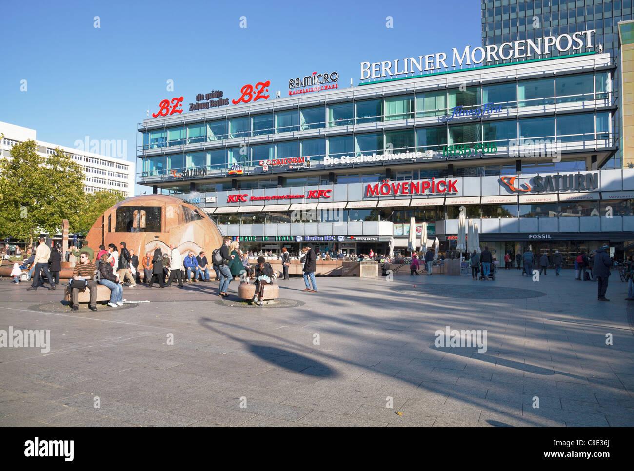 Breitscheidplatz and Europa Center, Berlin, Germany - Stock Image