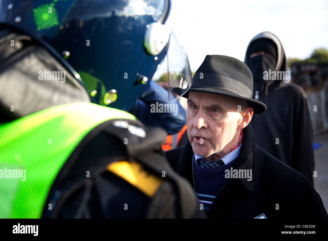 Spokesperson Grattan Puxon at Dale Farm site prior to eviction, a Romany Gypsy and Irish Traveller site in Crays - Stock Image