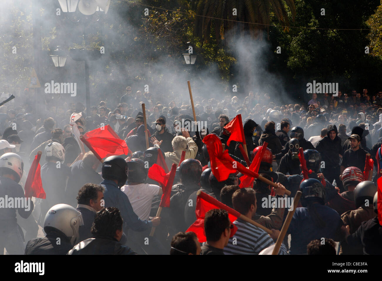 20 October 2011 Athens Greece. Clashes between protesters during the second day protests against the new austerity - Stock Image