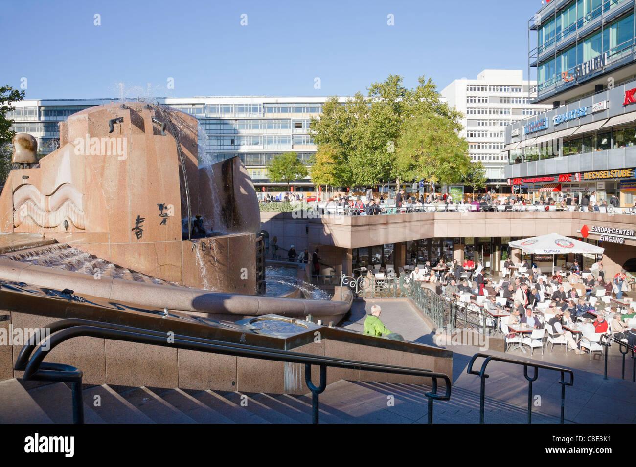 Weltkugelbrunnen (World Fountain) on Breitscheidplatz, Europa Center, Berlin, Germany - Stock Image