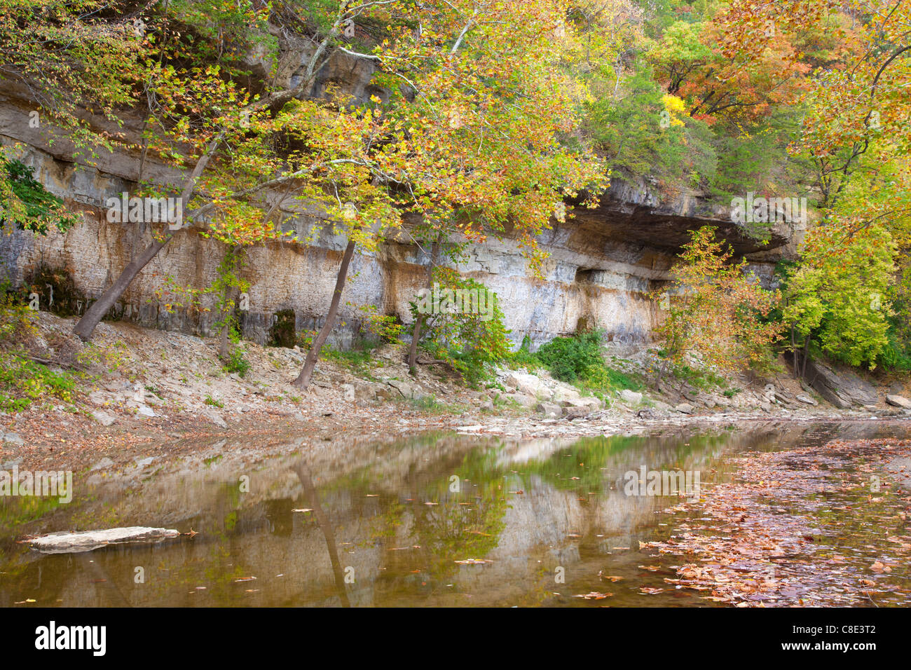 Flint Creek and bluff, Starr's Cave State Preserve, Des Moines County, Iowa - Stock Image