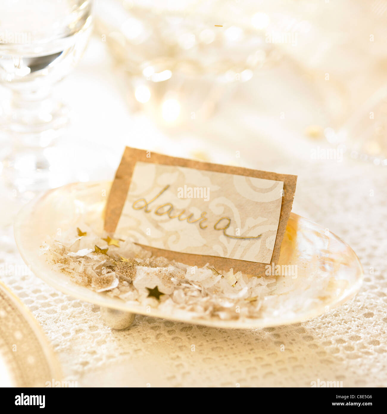 table name tag in a shell stock photo 39649686 alamy