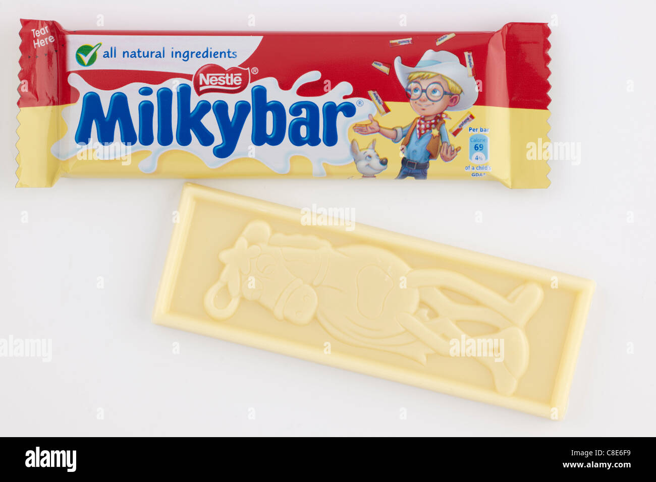 Two Small bars of Nestle Milky Bar white chocolate with a horse character - Stock Image