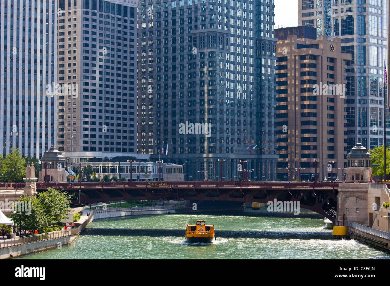 Chicago Watertaxi boat tour, Chicago, Illinois - Stock Image