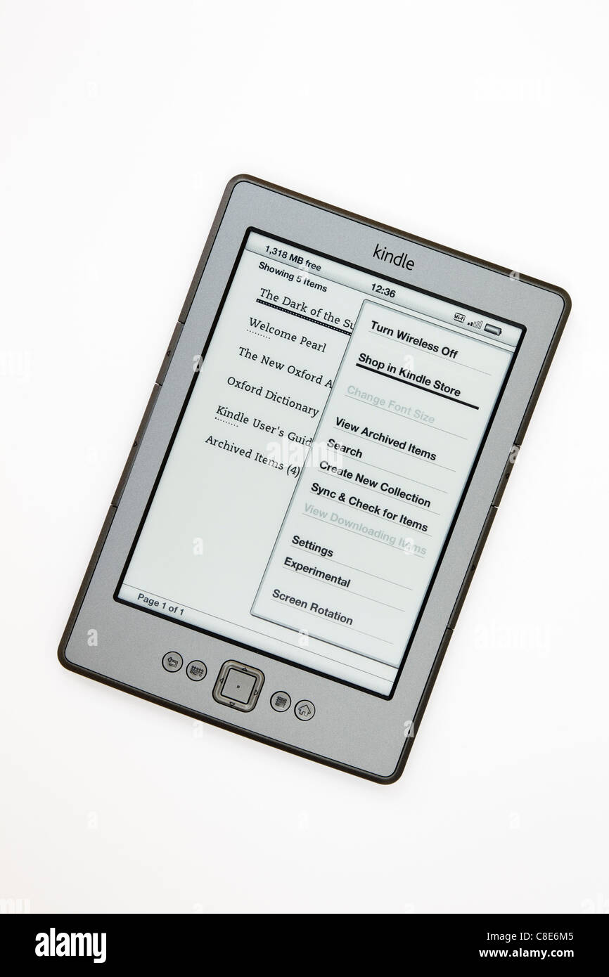 New Amazon wifi Kindle ebook reader home page isolated on a white background. - Stock Image