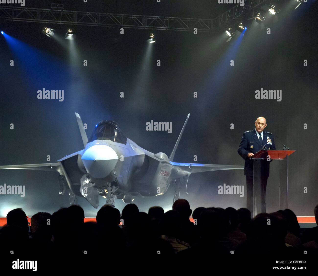 Air Force Chief of Staff Gen. T. Michael Moseley announces the name selected for the new Lockheed Martin F-35 - Stock Image