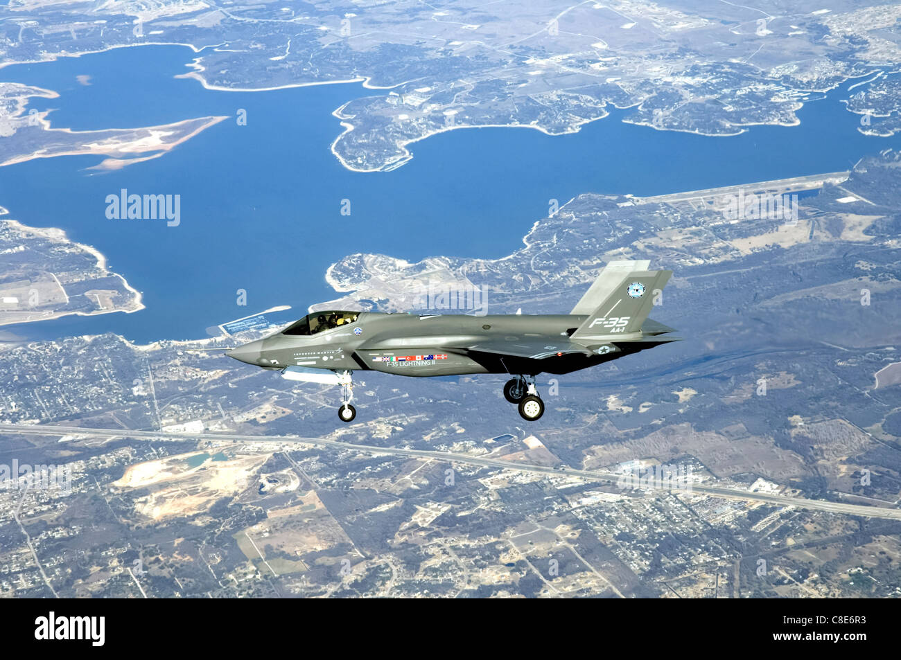 The F-35 Lightning II Joint Strike Fighter makes its initial flight Dec. 15 over Fort Worth, Texas. - Stock Image
