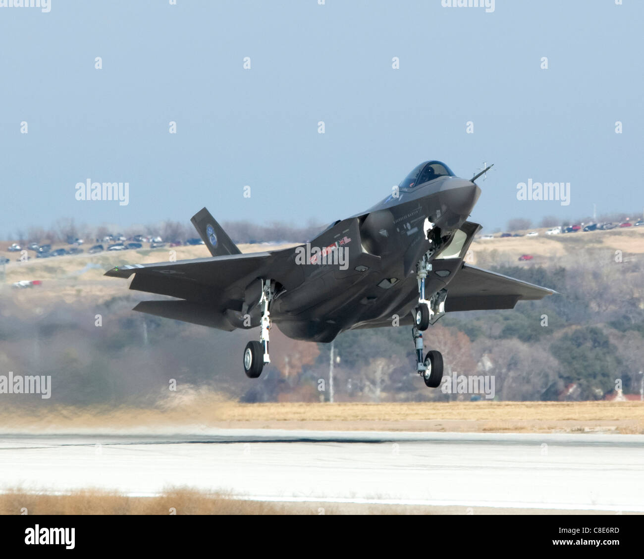 An F-35 Lightning II Joint Strike Fighter takes off at 12:44 p.m. CST at Lockheed Martin in Fort Worth, Texas - Stock Image