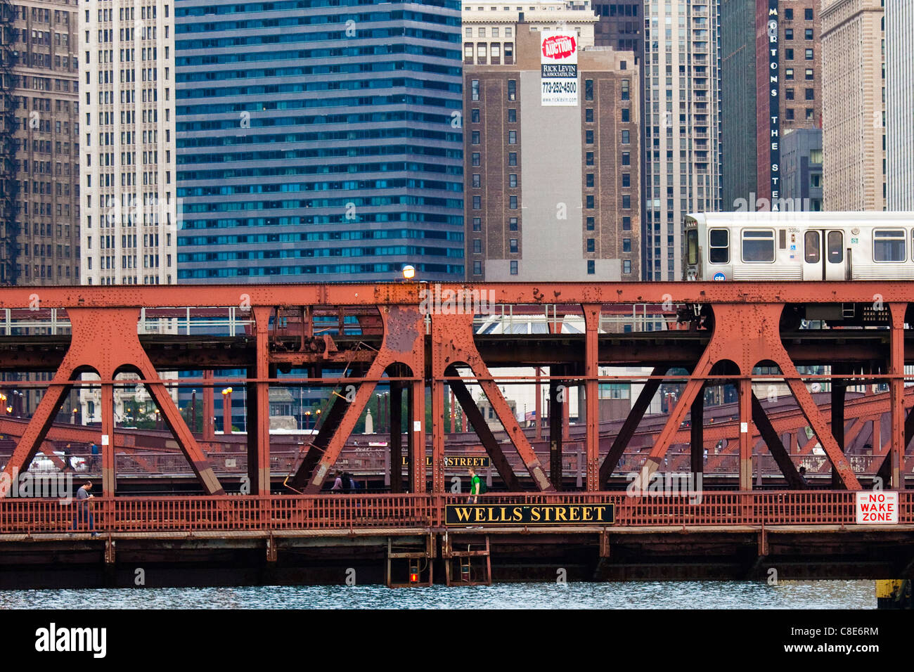 Wells Street Bridge, Chicago, Illinois - Stock Image