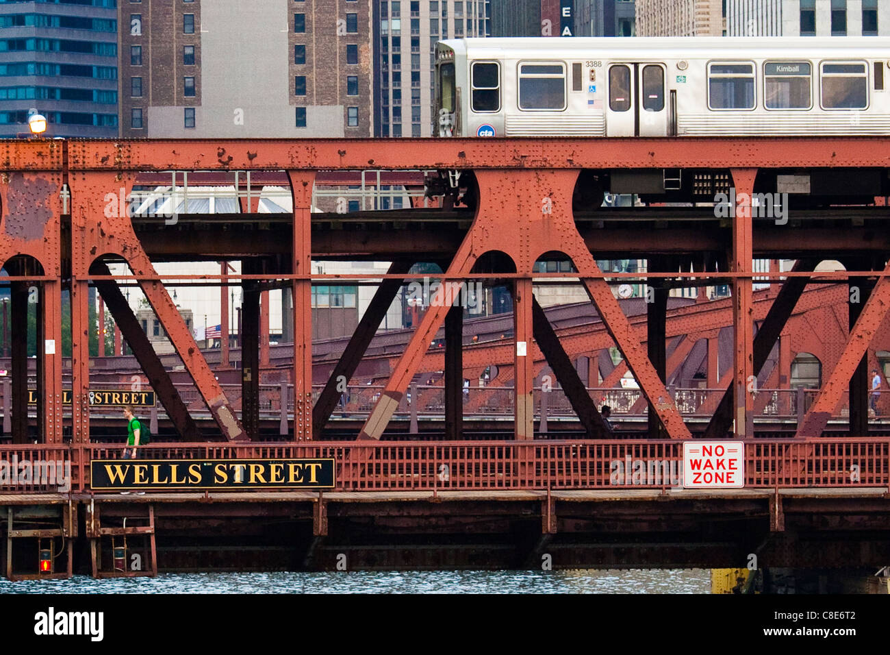 Wells Street Bridge, Chicago, Illinois - Stock Image