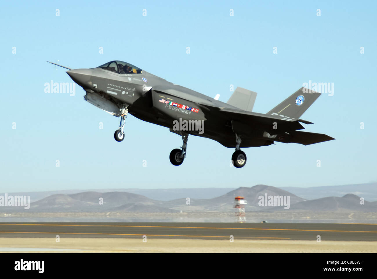 An F-35 Joint Strike Fighter, marked AA-1, lands Oct. 23 at Edwards Air Force Base, Calif. - Stock Image