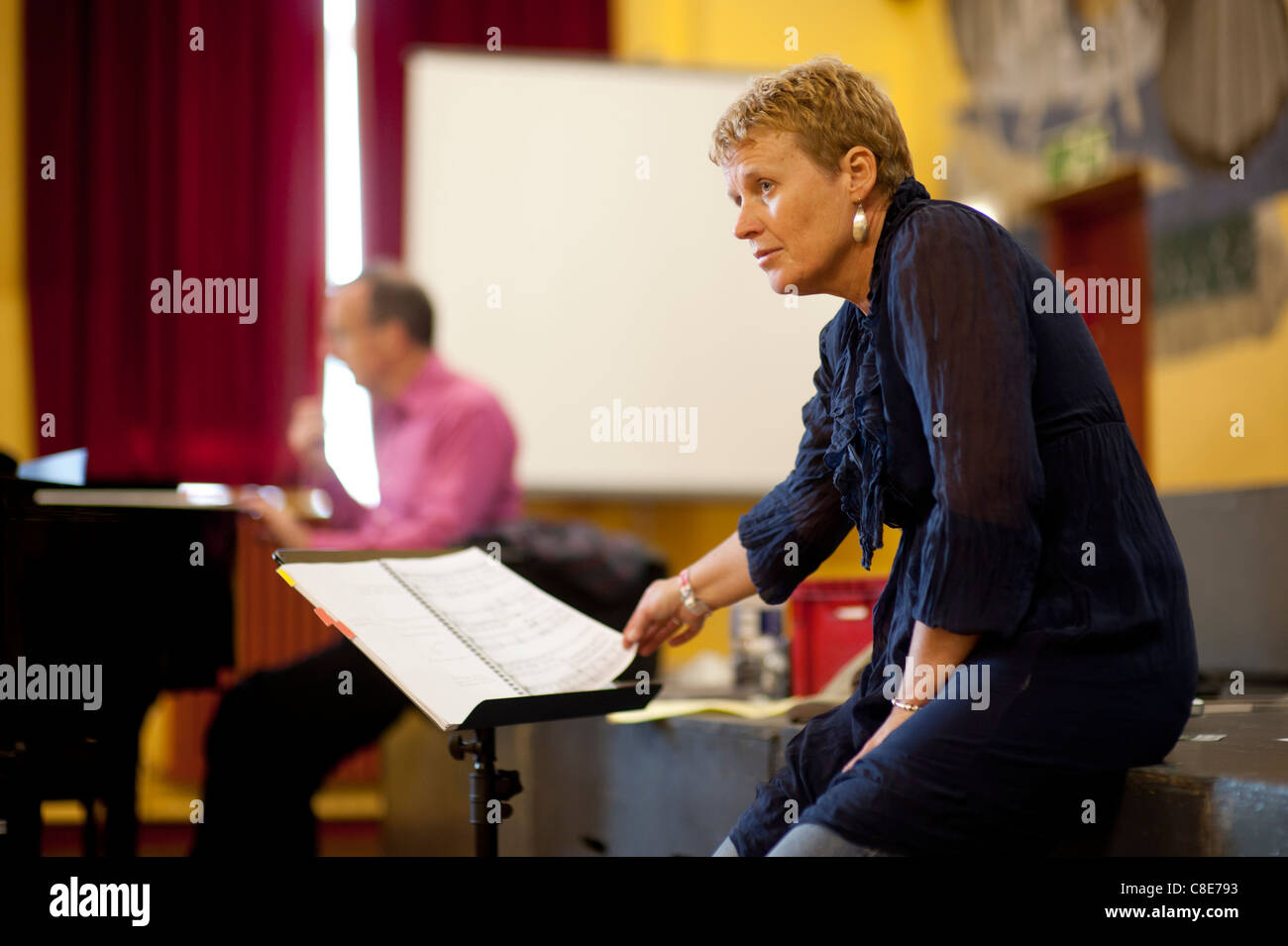 Clare Williams directing rehearsals for Mid Wales Opera production of Noye's Fludde by Benjamin Britten, Wales - Stock Image