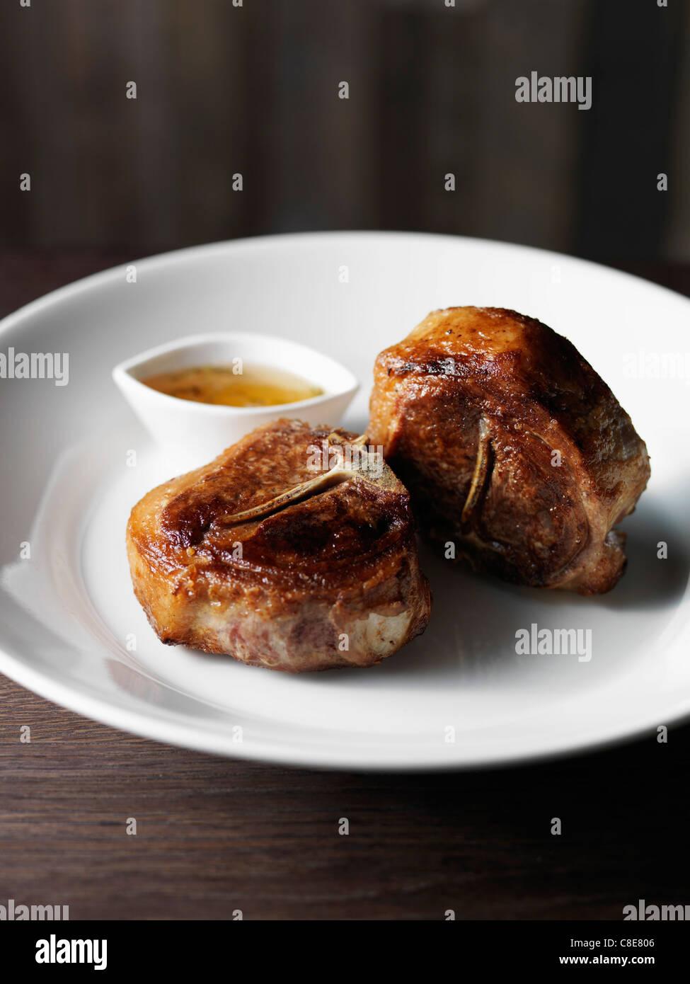 Roast saddle of lamb - Stock Image