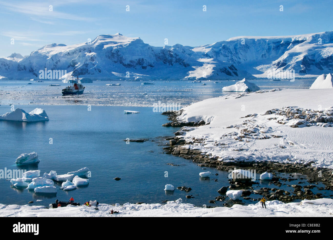 Antarctic expedition vessel MV Ushuaia anchored at Charlotte Bay in Antarctica - Stock Image