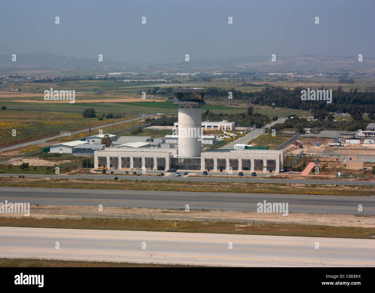 The control tower at Cyprus Larnaca International Airport - Stock Image