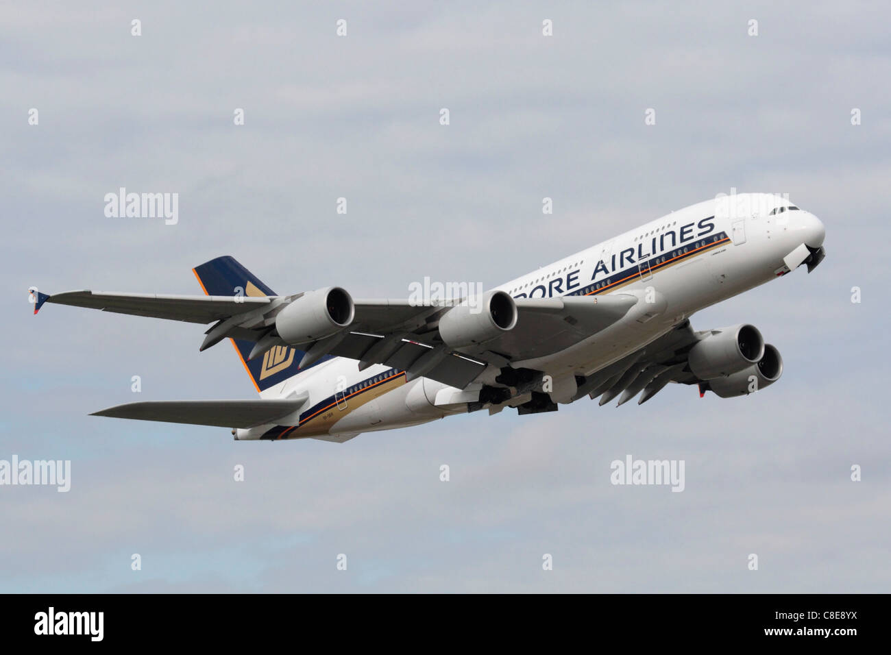 Singapore Airlines Airbus A380 long haul passenger jet plane on takeoff from London Heathrow Airport - Stock Image