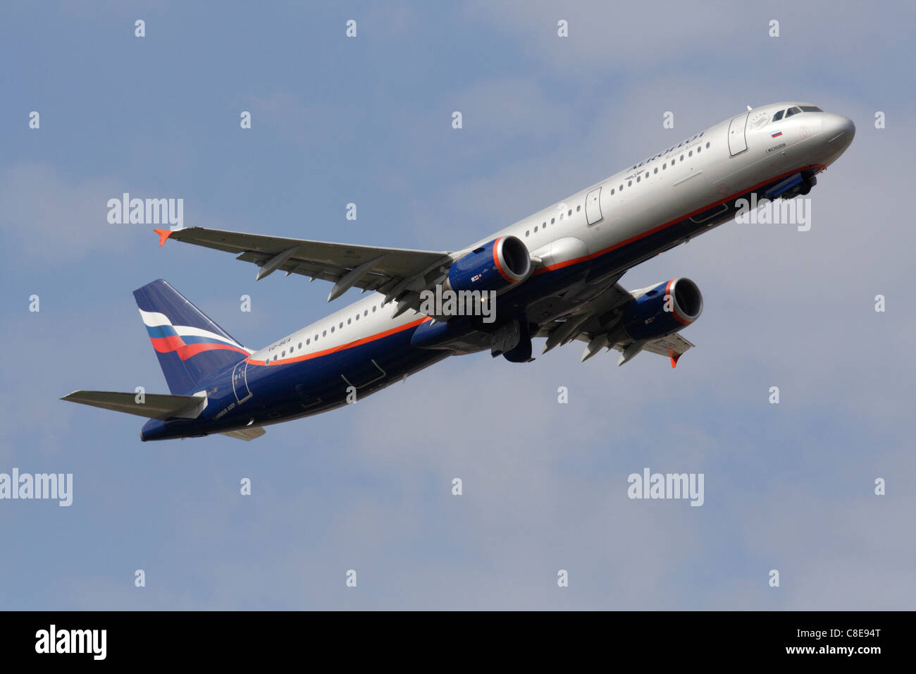 Commercial aviation. Airbus A321 narrowbody passenger jet plane belonging to Russian airline Aeroflot on takeoff - Stock Image