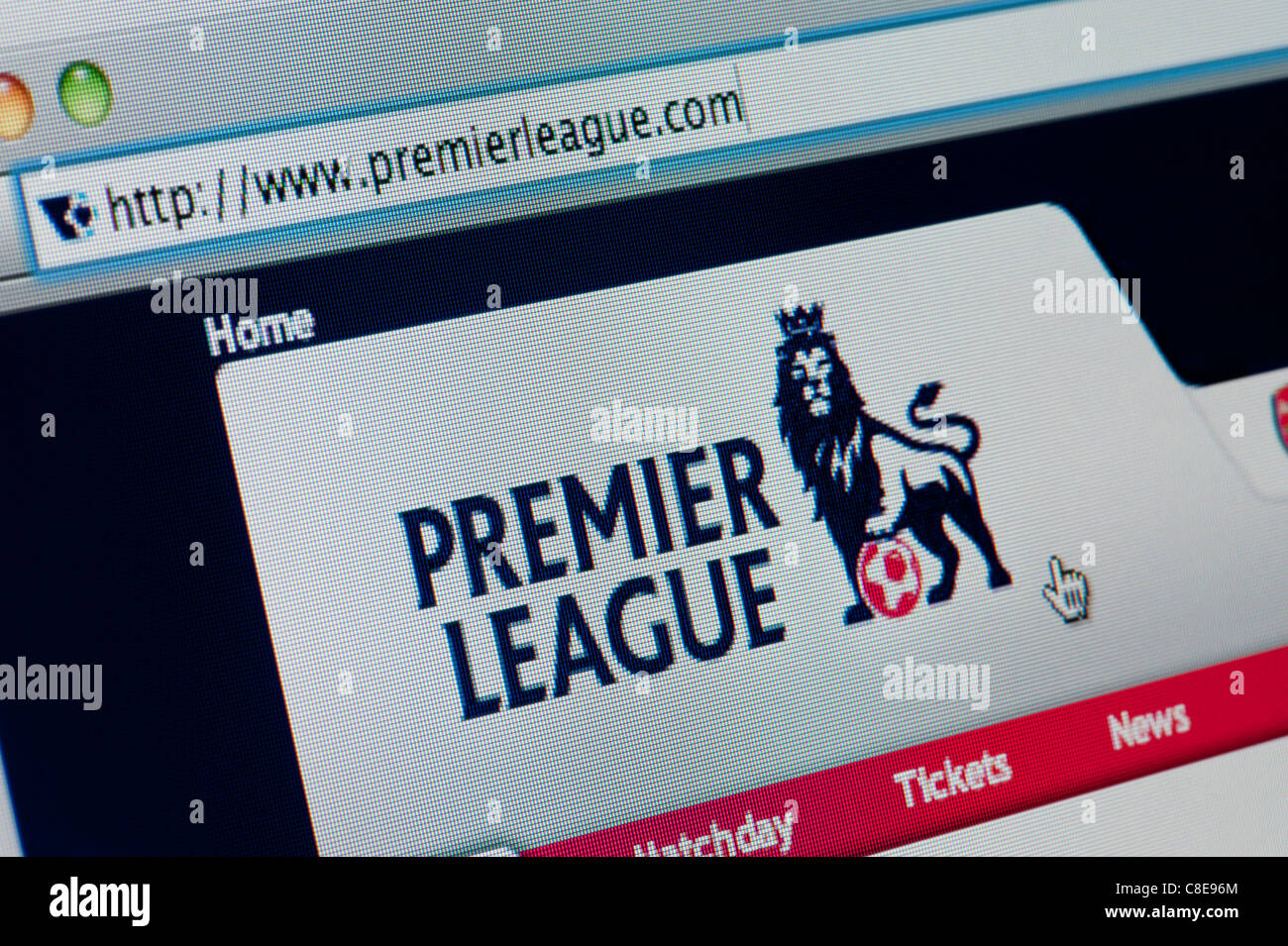Close up of the Premier League logo as seen on its website. (Editorial use only: ­print, TV, e-book and editorial - Stock Image