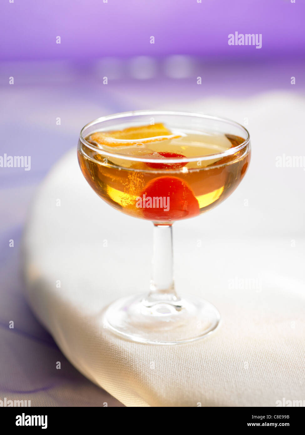 Champagne,brandy et red curaçao cocktail Stock Photo