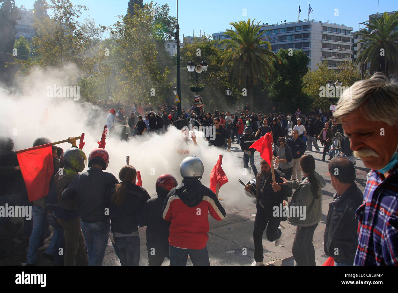 GREECE, ATHENS, SYNTAGMA SQUARE, 20/10/2011. Protests against Greek government's economic policy. Protesters - Stock Image
