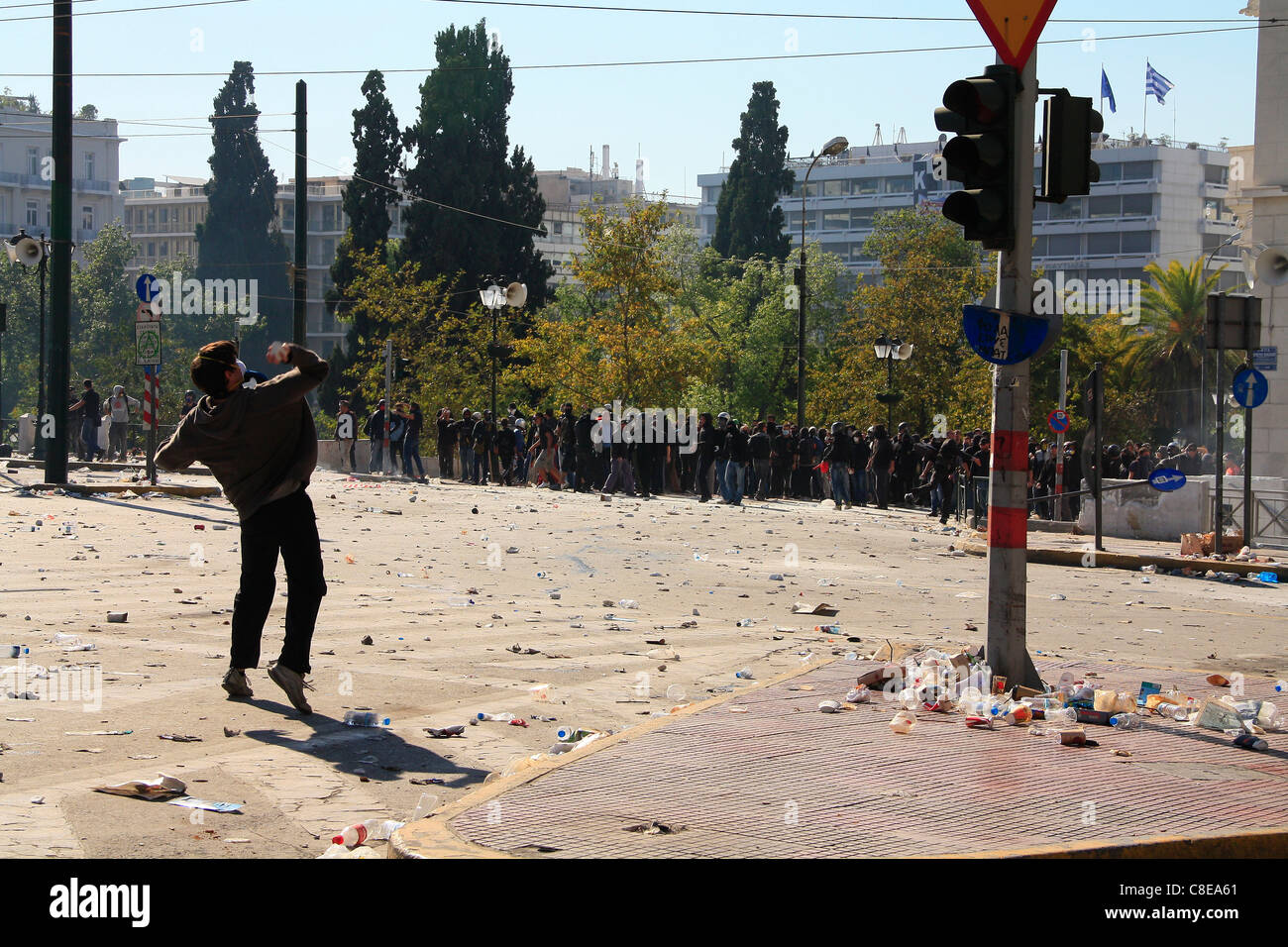 GREECE, ATHENS, SYNTAGMA SQUARE, 20/10/2011. Protests against Greek government's economic policy. Protester - Stock Image