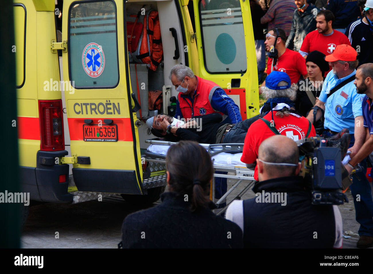 GREECE, ATHENS, SYNTAGMA SQUARE, 20/10/2011. Protests against Greek government's economic policy. Injured protester - Stock Image