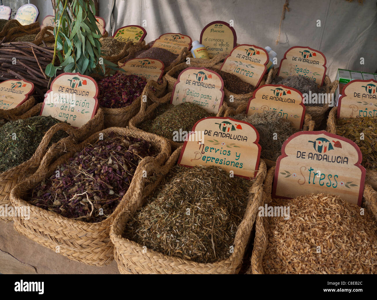 Variety of herbal remedies on display for sale Palma de Mallorca market stall  Spain - Stock Image