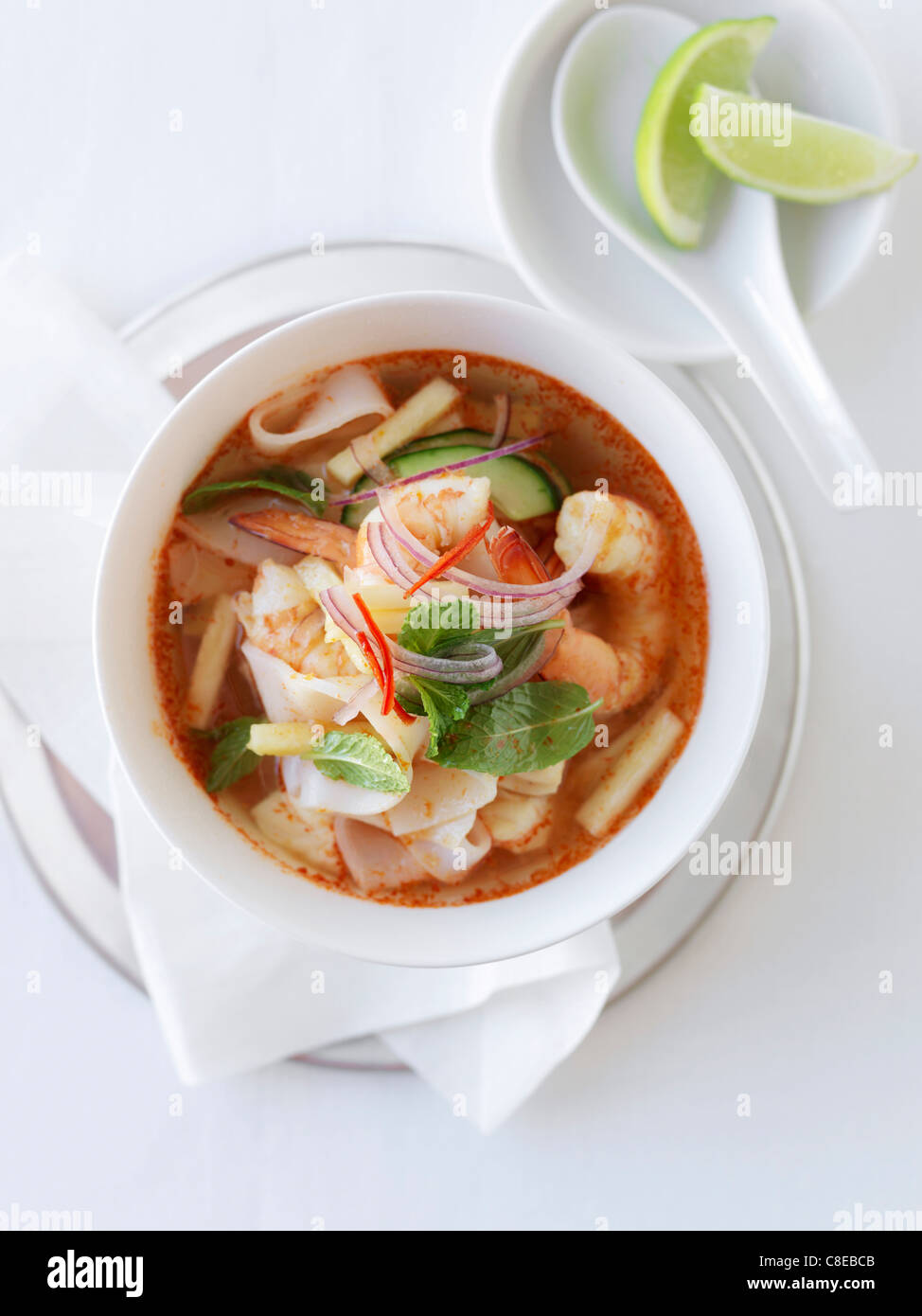 Spicy shrimp,squid and bamboo shoot soup - Stock Image