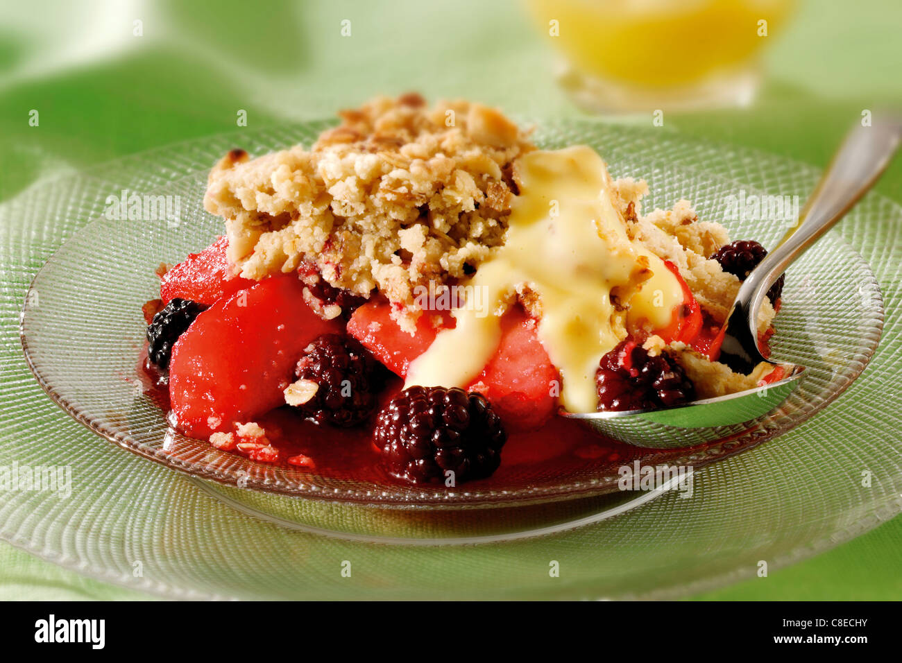 British Food - Blackberry & Apple Crumble - Stock Image