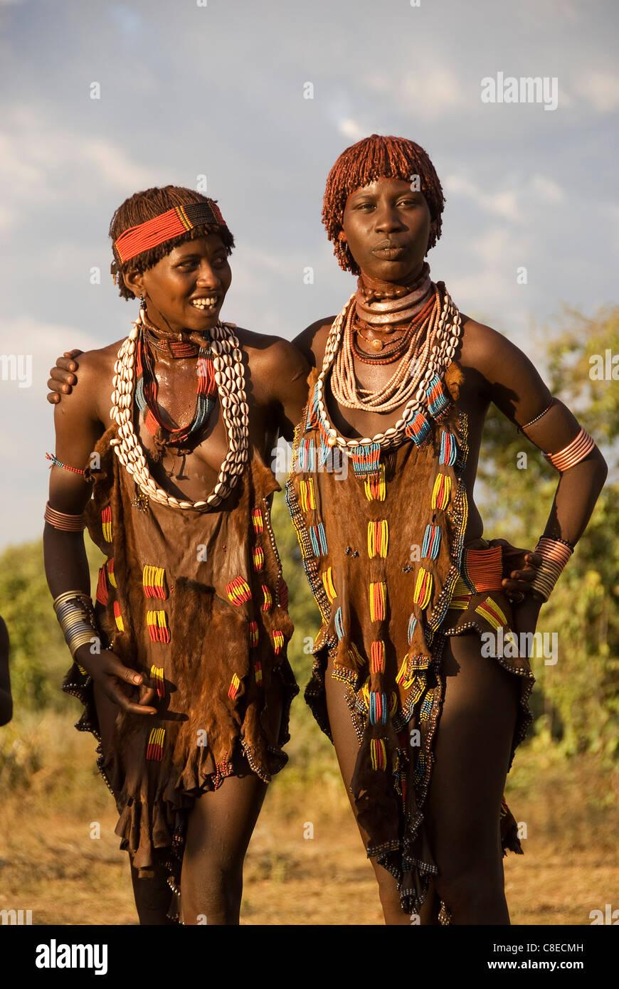 Elk200-5488v Ethiopia, Omo Valley, Hamer tribe, women dancers - Stock Image
