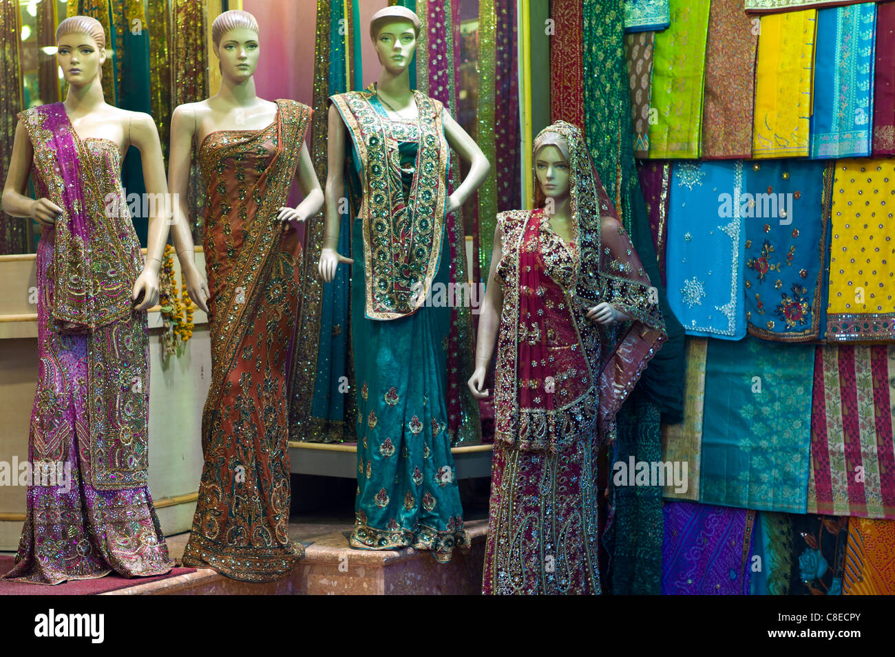 1ec5da99b6 Sari clothes shop in city of Varanasi, Benares, Northern India - Stock Image