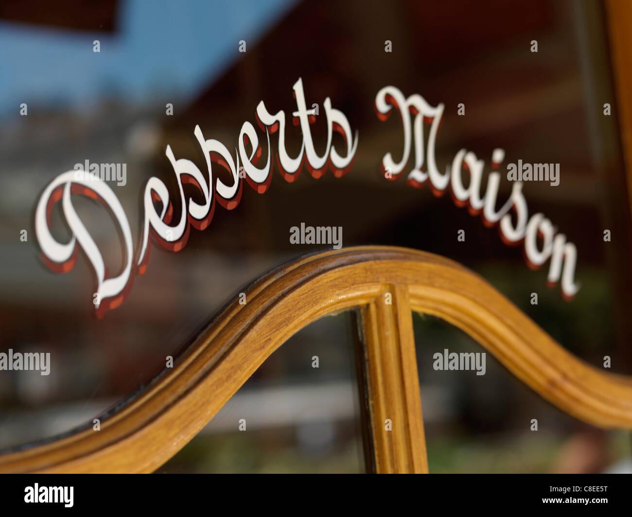 Inscription on a Bistro's window - Stock Image
