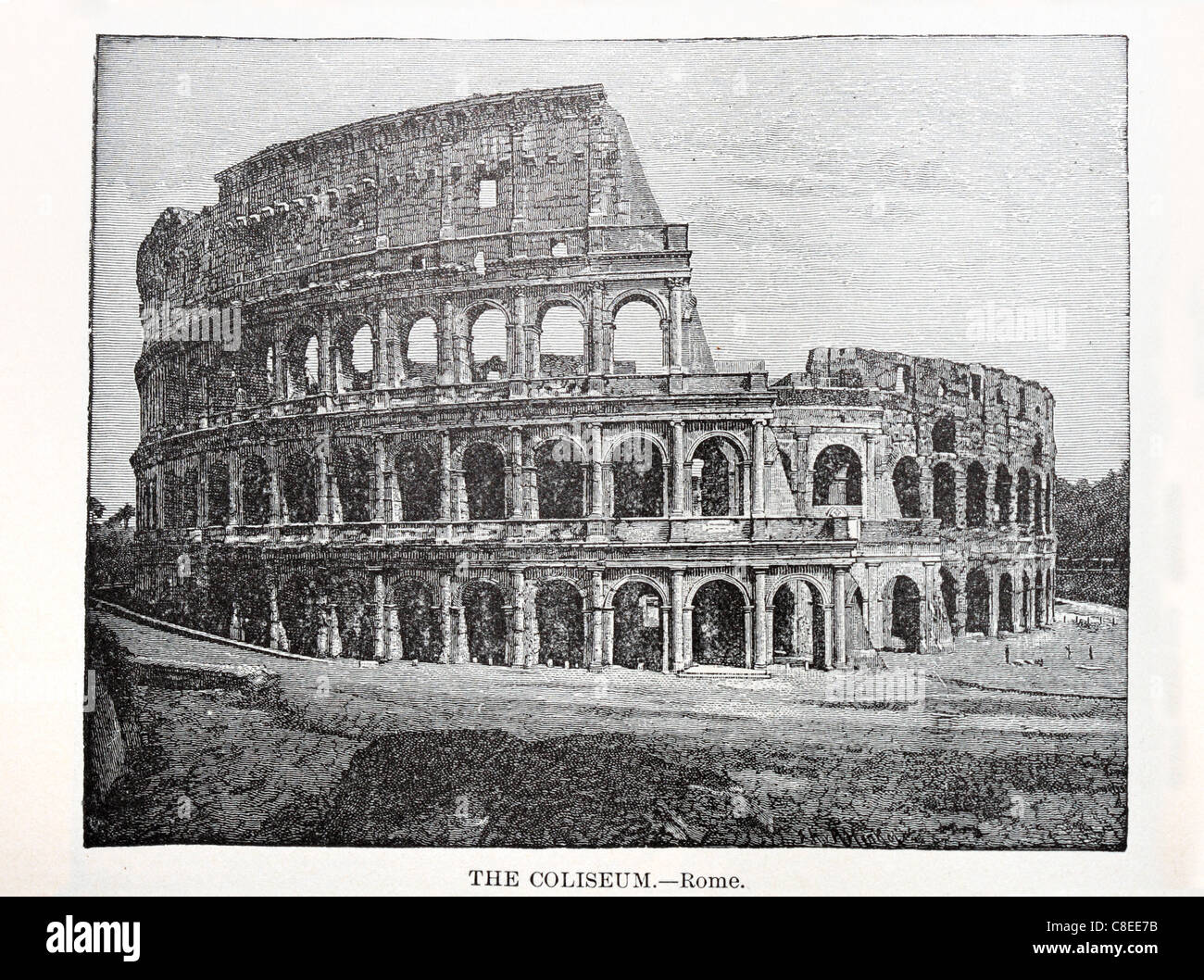 old print of the Roman Coliseum from an 1896 book - Stock Image