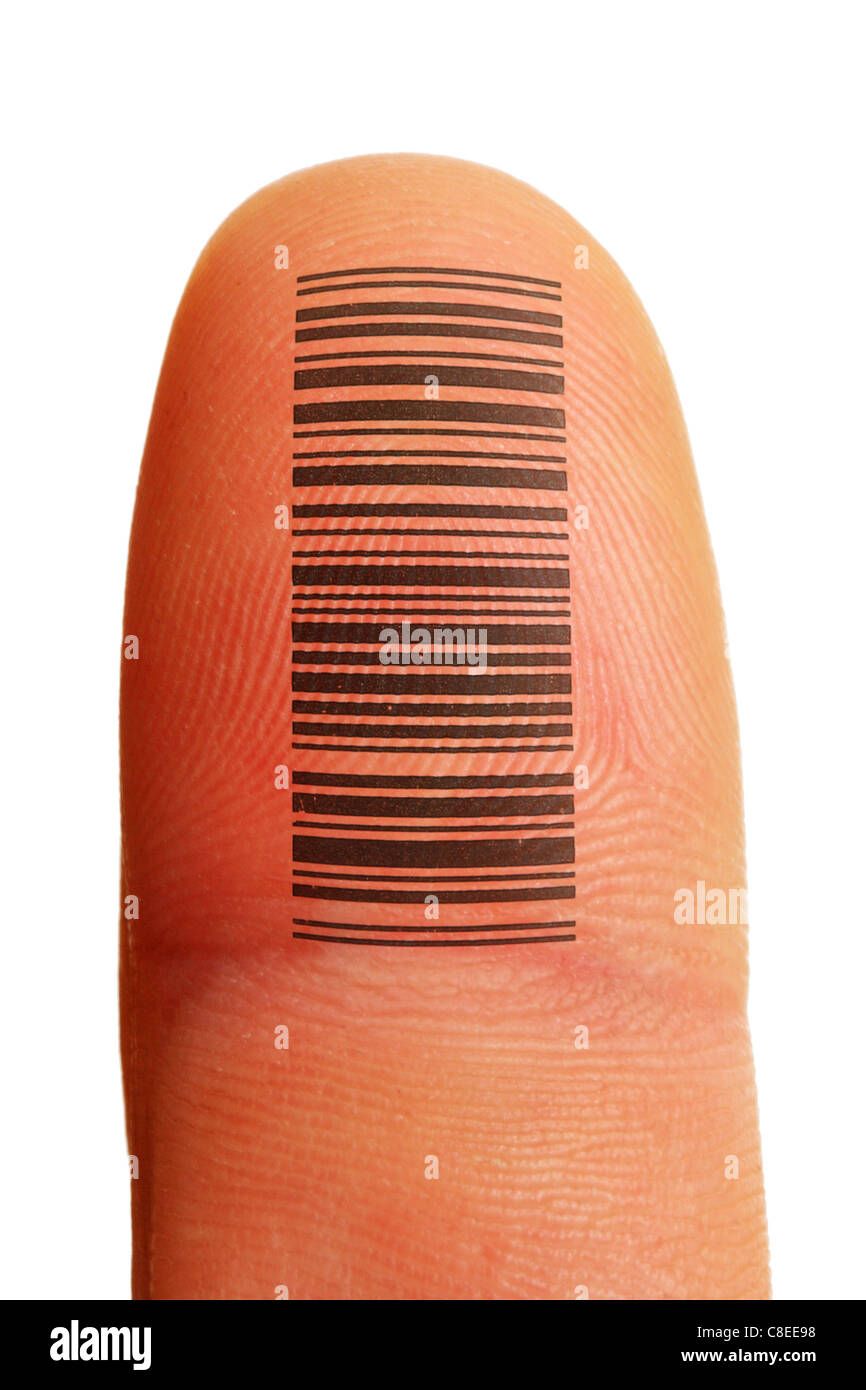 finger id identification with fingerprint and tattoo barcode - Stock Image